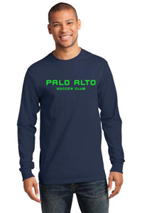LONG SLEEVE COTTON T-SHIRT NAVY WITH GREEN LOGO
