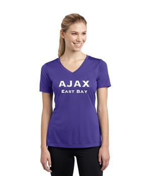 Women Purple V-neck Poly Dri-fit Shirt Image